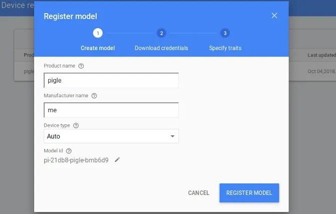 Registra il tuo Pi come un modello
