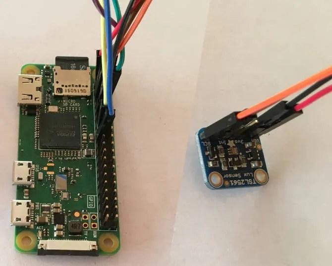 Raspberry Pi Zero W collegato al sensore lux TSL2561