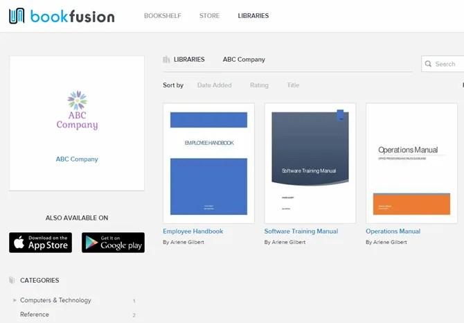 Libreria aziendale personalizzata in BookFusion