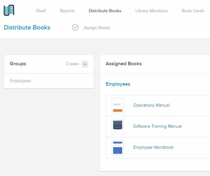 Schermata Distribuisci libri in BookFusion
