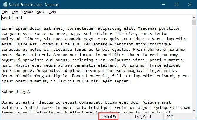 Il file di testo di Linux si apre nel Blocco note