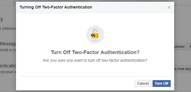 Tun off Facebook autenticazione a due fattori.