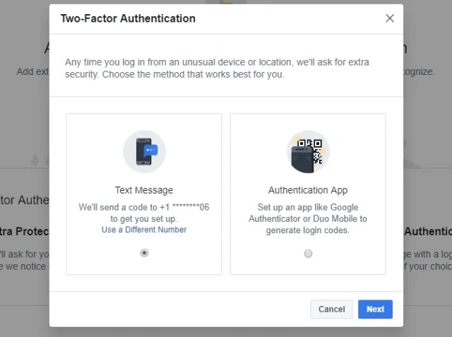 Choose the method you want to use for Facebook's two-factor authentication.