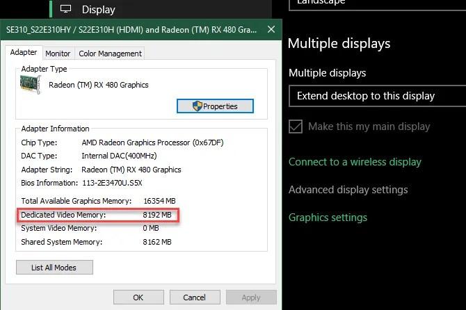 Informazioni sulla RAM video di Windows 10