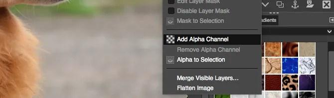 aggiungi canale alfa gimp