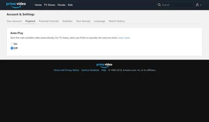 Amazon Prime Video Auto Play
