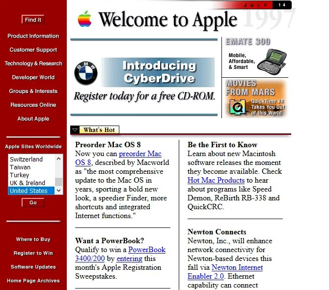 Screenshot of Apple in 1997