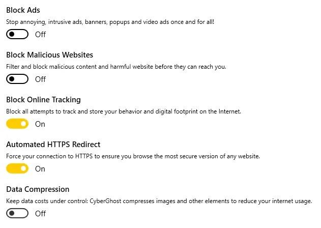 Blocca tracker e forza le connessioni HTTPS con CyberGhost