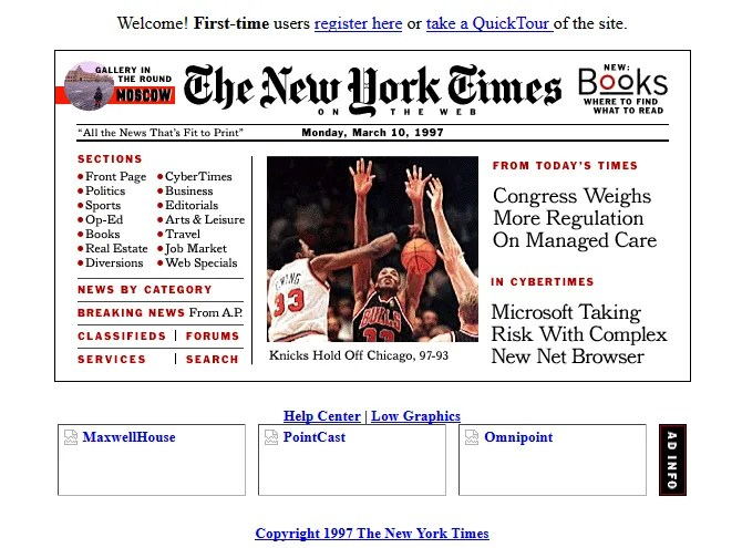 Screenshot of the New York Times website in 1997