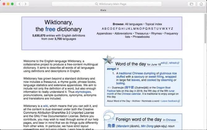 wiki offline nell'app kiwix