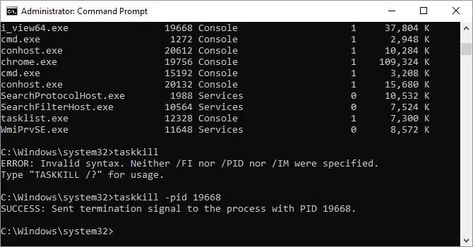 Comando Taskkill