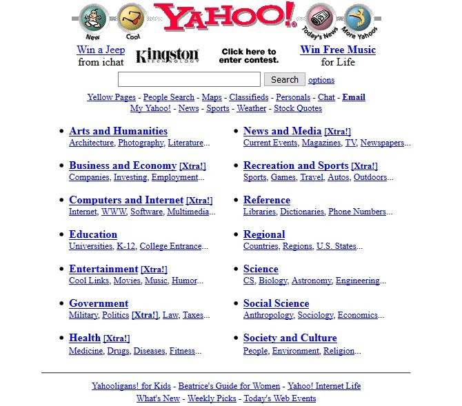 A screenshot of Yahoo in 1997