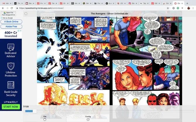 CBR comic book reader chrome extension