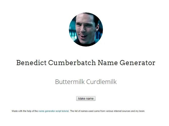 Screenshot from Benedict Cumberbatch Name Generator website