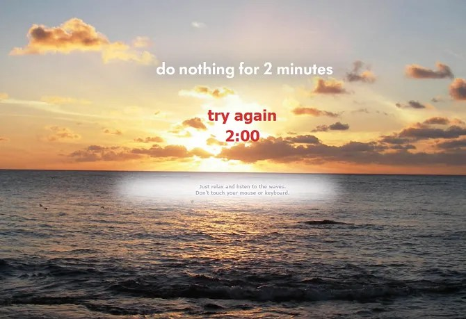Screenshot from Do Nothing for 2 Minutes website