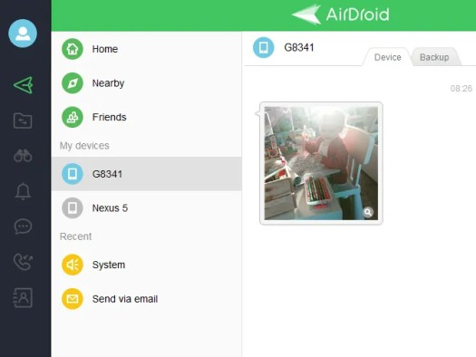 Images sent via AirDroid to your PC are delivered to the desktop client app