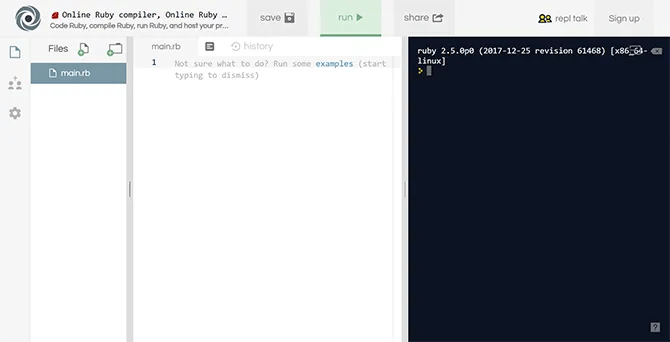 Repl.it is a simple IDE for Ruby among other languages