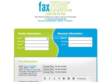 FaxZero Online Fax Service Sending Page
