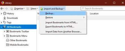 Firefox Bookmarks Backup