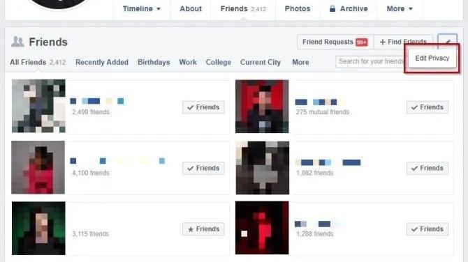 يختبئ الفيسبوك قائمة الأصدقاء
