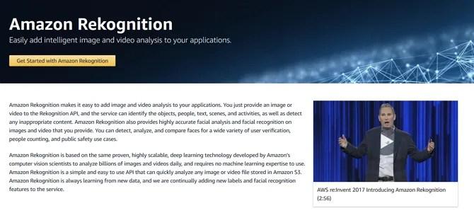 Снимок экрана маркетингового сайта Amazon Rekognition