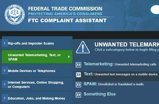 FTC Report Text Spam