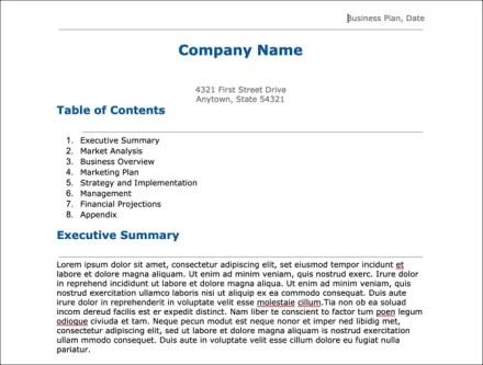 Google Docs Business Plan Template