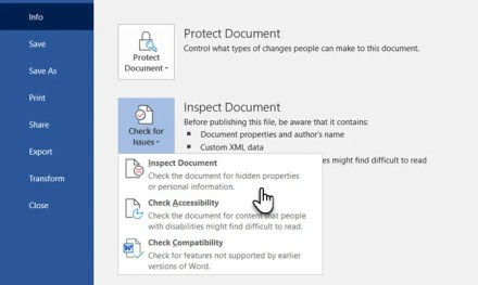 Check for issues with the Inspect Document feature in Microsoft Word
