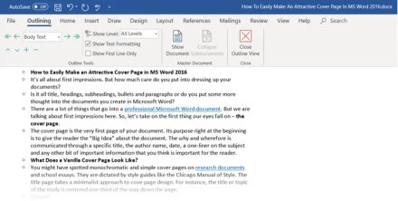 The Outlining toolbar in Microsoft Word