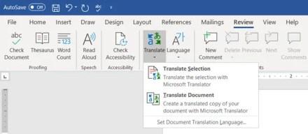 Microsoft Translate in Word