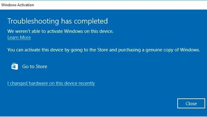 Phần cứng thay đổi kích hoạt Windows 10