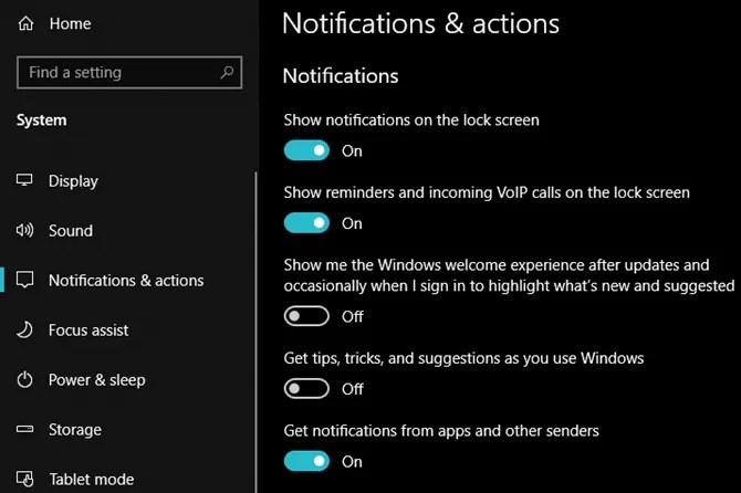Cài đặt hành động và thông báo của Windows 10
