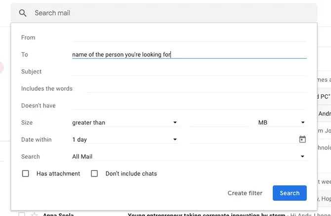 advanced search in gmail