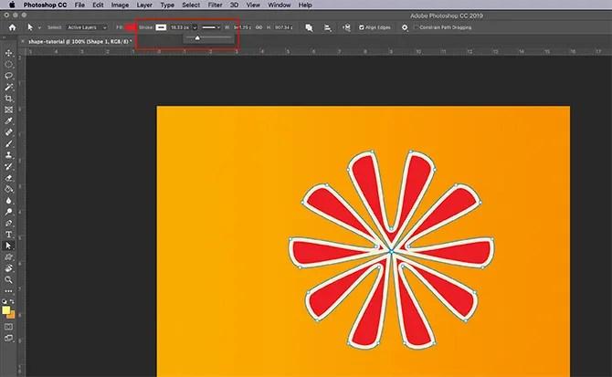 How to Use Custom Shape Tool Photoshop Adjust Stroke
