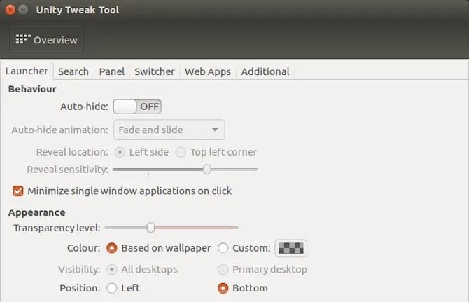 Unity Tweak tool