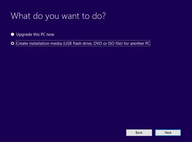 Create Windows 10 installation media