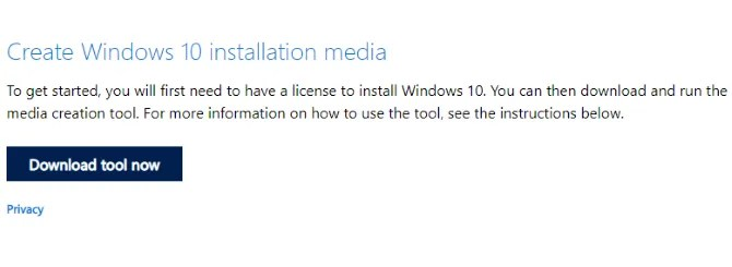 Download the Windows 10 installation media