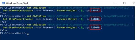 net framework powershell command