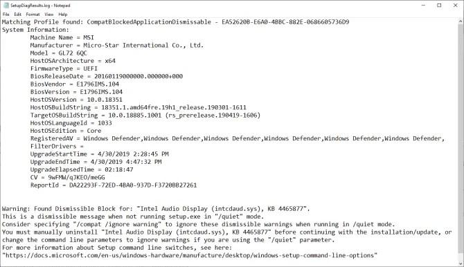 SetupDiag log file