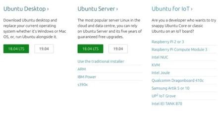 Different ubuntu downloads