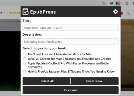 EpubPress toolbar panel in Chrome
