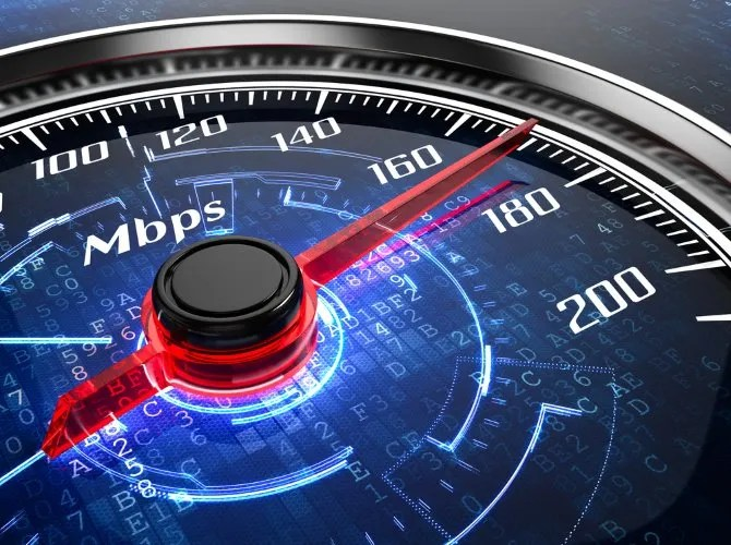 An internet speedometer representing mobile network rates