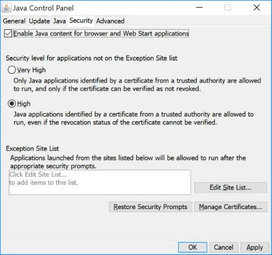 Security tab on the Java Control Panel