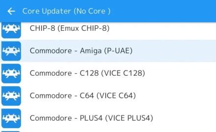 Select a core on RetroArch