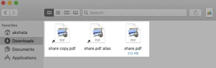 Symlink and alias for a file in Finder on macOS