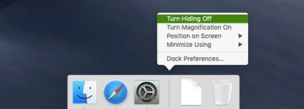 Turn of Dock hiding option in Dock's context menu on macOS