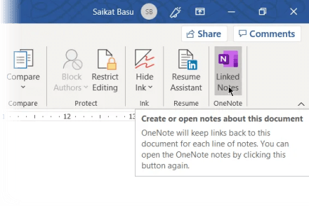 Linked Notes in Microsoft Word