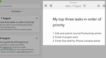 Daily to-do list in journal app