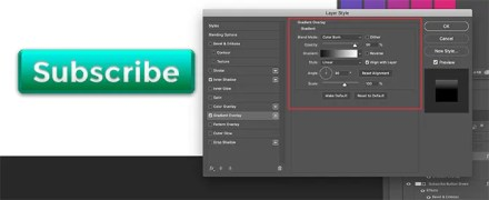 Add Gradient Overlay to Text on 3D Button in Photoshop