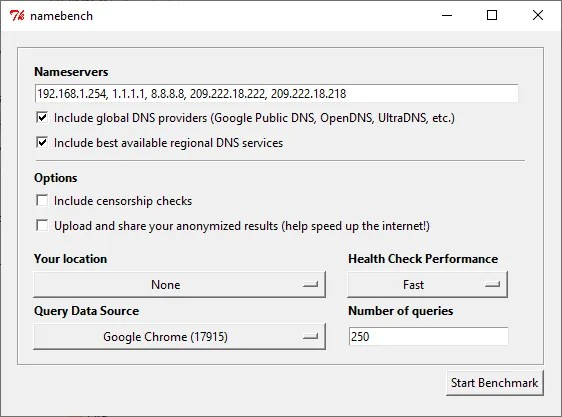 namebench dns test tool